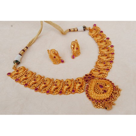 Ruby Peacock Ethnic Necklace Set